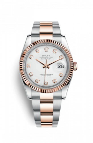 Rolex 116231-0063 : Datejust 36 Rolesor Everose Fluted / Oyster / White Diamonds