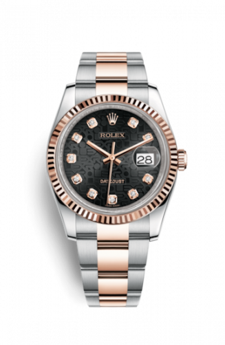 Rolex 116231-0064 : Datejust 36 Rolesor Everose Fluted / Oyster / Black Computer