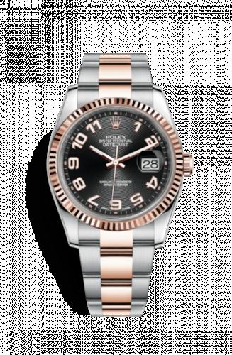 Rolex 116231-0066 : Datejust 36 Rolesor Everose Fluted / Oyster / Black Arabic