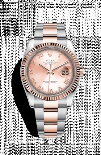 Rolex 116231-0067 : Datejust 36 Rolesor Everose Fluted / Oyster / Pink Roman