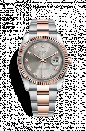 Rolex 116231-0069 : Datejust 36 Rolesor Everose Fluted / Oyster / Steel Roman