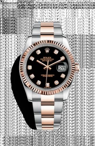 Rolex 116231-0071 : Datejust 36 Rolesor Everose Fluted / Oyster / Black Diamond