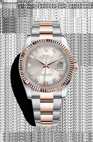 Rolex 116231-0074 : Datejust 36 Rolesor Everose Fluted / Oyster / Pink Diamonds