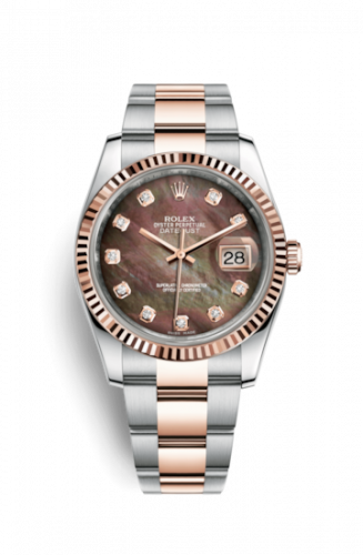 Rolex 116231-0075 : Datejust 36 Rolesor Everose Fluted / Oyster / Black MOP