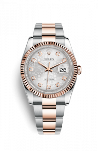 Rolex 116231-0077 : Datejust 36 Rolesor Everose Fluted / Oyster / Silver Computer