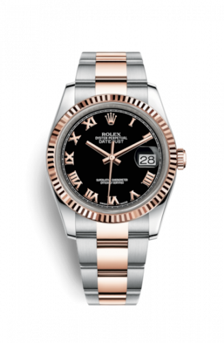 Rolex 116231-0080 : Datejust 36 Rolesor Everose Fluted / Oyster / Black Roman