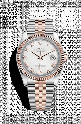 Rolex 116231-0084 : Datejust 36 Rolesor Everose Fluted / Jubilee / White Roman