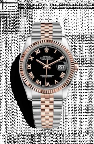 Rolex 116231-0085 : Datejust 36 Rolesor Everose Fluted / Jubilee / Black Roman