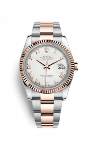 Rolex 116231-0092 : Datejust 36 Rolesor Everose Fluted / Oyster / White Roman