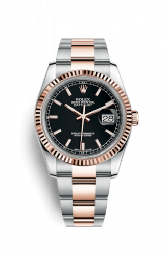Rolex 116231-0093 : Datejust 36 Rolesor Everose Fluted / Oyster / Black