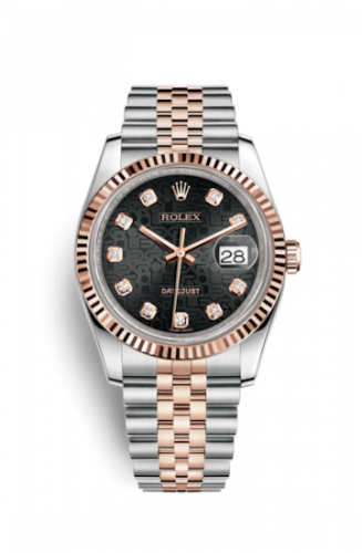 Rolex 116231-0101 : Datejust 36 Rolesor Everose Fluted / Jubilee / Black Computer
