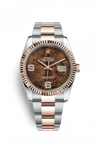 Rolex 116231-0106 : Datejust 36 Rolesor Everose Fluted / Oyster / Chocolate Floral