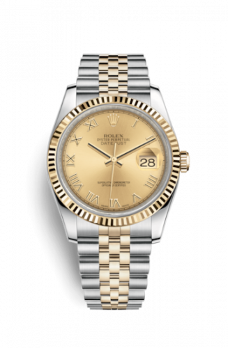 Rolex 116233-0147 : Datejust 36 Rolesor Yellow Fluted / Jubilee / Champagne Roman