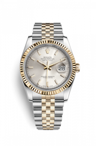 Rolex 116233-0148 : Datejust 36 Rolesor Yellow Fluted / Jubilee / Silver