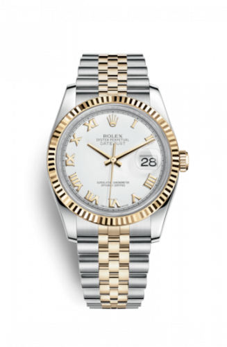 Rolex 116233-0149 : Datejust 36 Rolesor Yellow Fluted / Jubilee / White Roman