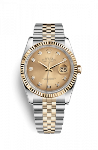 Rolex 116233-0150 : Datejust 36 Rolesor Yellow Fluted / Jubilee / Champagne Diamonds
