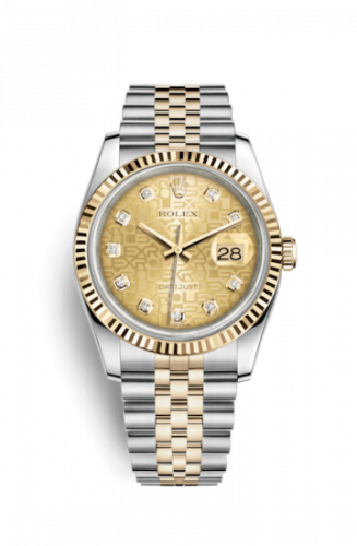 Rolex 116233-0155 : Datejust 36 Rolesor Yellow Fluted / Jubilee / Champagne Computer