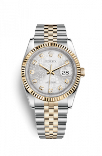 Rolex 116233-0156 : Datejust 36 Rolesor Yellow Fluted / Jubilee / Silver Computer