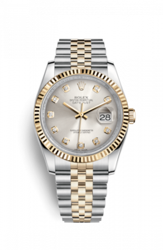 Rolex 116233-0157 : Datejust 36 Rolesor Yellow Fluted / Jubilee / Silver Diamonds