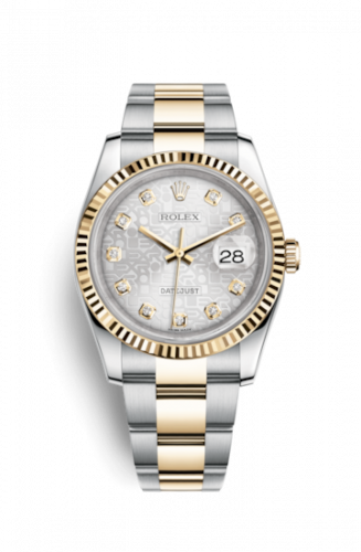 Rolex 116233-0168 : Datejust 36 Rolesor Yellow Fluted / Oyster / Silver Computer