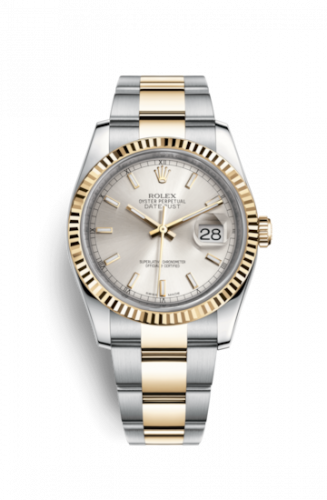 Rolex 116233-0169 : Datejust 36 Rolesor Yellow Fluted / Oyster / Silver
