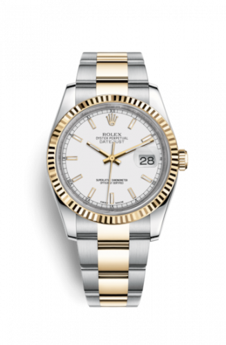 Rolex 116233-0171 : Datejust 36 Rolesor Yellow Fluted / Oyster / White