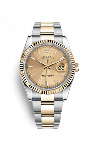Rolex 116233-0172 : Datejust 36 Rolesor Yellow Fluted / Oyster / Champagne