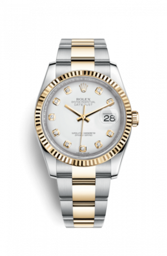 Rolex 116233-0174 : Datejust 36 Rolesor Yellow Fluted / Oyster / White Diamond
