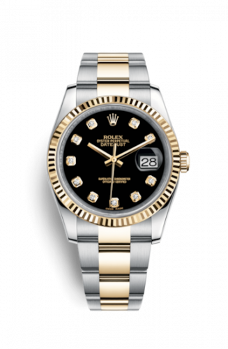 Rolex 116233-0175 : Datejust 36 Rolesor Yellow Fluted / Oyster / Black Diamond