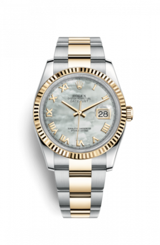 Rolex 116233-0176 : Datejust 36 Rolesor Yellow Fluted / Oyster / MOP Roman
