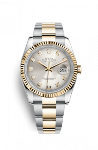 Rolex 116233-0179 : Datejust 36 Rolesor Yellow Fluted / Oyster / Silver Diamonds