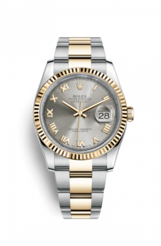 Rolex 116233-0180 : Datejust 36 Rolesor Yellow Fluted / Oyster / Steel Roman