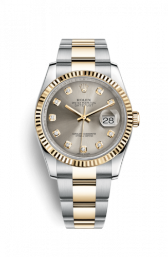 Rolex 116233-0181 : Datejust 36 Rolesor Yellow Fluted / Oyster / Steel Diamonds