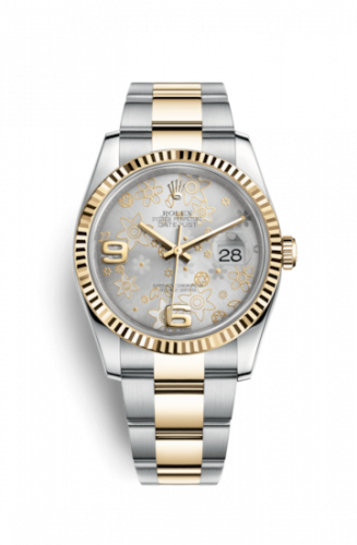 Rolex 116233-0182 : Datejust 36 Rolesor Yellow Fluted / Oyster / Silver Floral