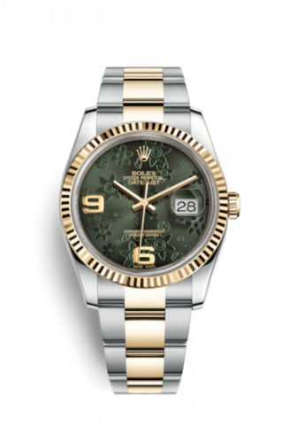Rolex 116233-0183 : Datejust 36 Rolesor Yellow Fluted / Oyster / Green Floral