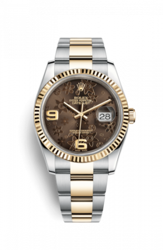 Rolex 116233-0184 : Datejust 36 Rolesor Yellow Fluted / Oyster / Bronze Floral
