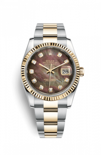 Rolex 116233-0186 : Datejust 36 Rolesor Yellow Fluted / Oyster / Black MOP