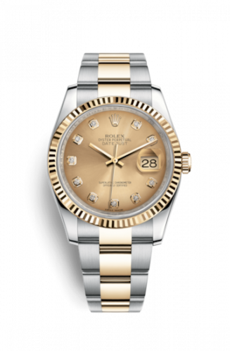 Rolex 116233-0191 : Datejust 36 Rolesor Yellow Fluted / Oyster / Champagne Diamonds