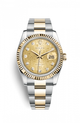Rolex 116233-0192 : Datejust 36 Rolesor Yellow Fluted / Oyster / Champagne Computer