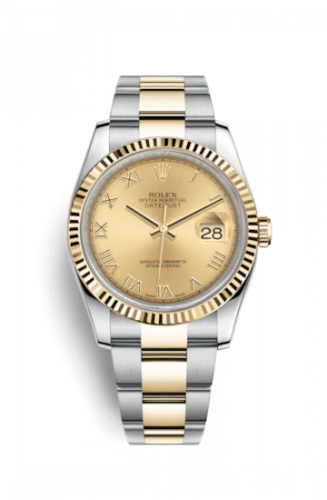 Rolex 116233-0193 : Datejust 36 Rolesor Yellow Fluted / Oyster / Champagne Roman