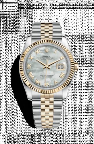Rolex 116233-0203 : Datejust 36 Rolesor Yellow Fluted / Jubilee / MOP Roman