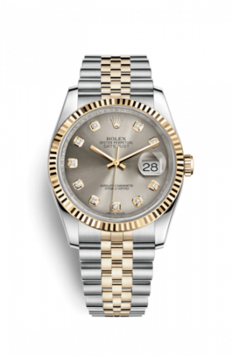 Rolex 116233-0205 : Datejust 36 Rolesor Yellow Fluted / Jubilee / Steel Diamonds