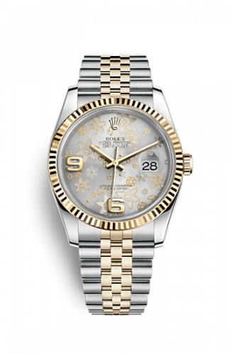 Rolex 116233-0215 : Datejust 36 Rolesor Yellow Fluted / Jubilee / Silver Floral