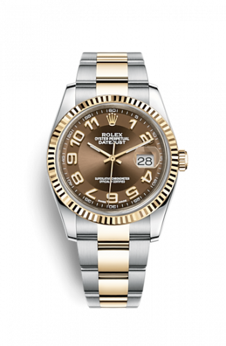 Rolex 116233-0220 : Datejust 36 Rolesor Yellow Fluted/ Oyster / Bronze Arabic
