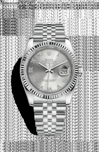 Rolex 116234-0081 : Datejust 36 Stainless Steel Fluted / Jubilee / Rhodium Roman