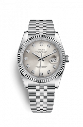 Rolex 116234-0084 : Datejust 36 Stainless Steel Fluted / Jubilee / Silver Diamond