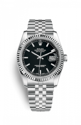 Rolex 116234-0085 : Datejust 36 Stainless Steel Fluted / Jubilee / Black