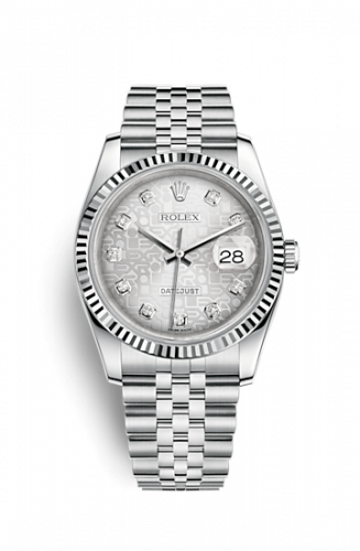 Rolex 116234-0087 : Datejust 36 Stainless Steel Fluted / Jubilee / Silver Computer