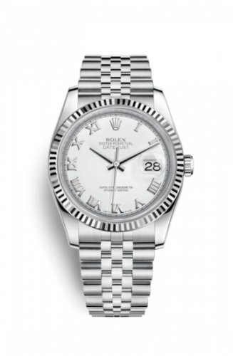 Rolex 116234-0089 : Datejust 36 Stainless Steel Fluted / Jubilee / White Roman