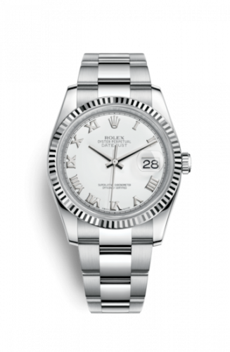 Rolex 116234-0090 : Datejust 36 Stainless Steel Fluted / Oyster / White Roman